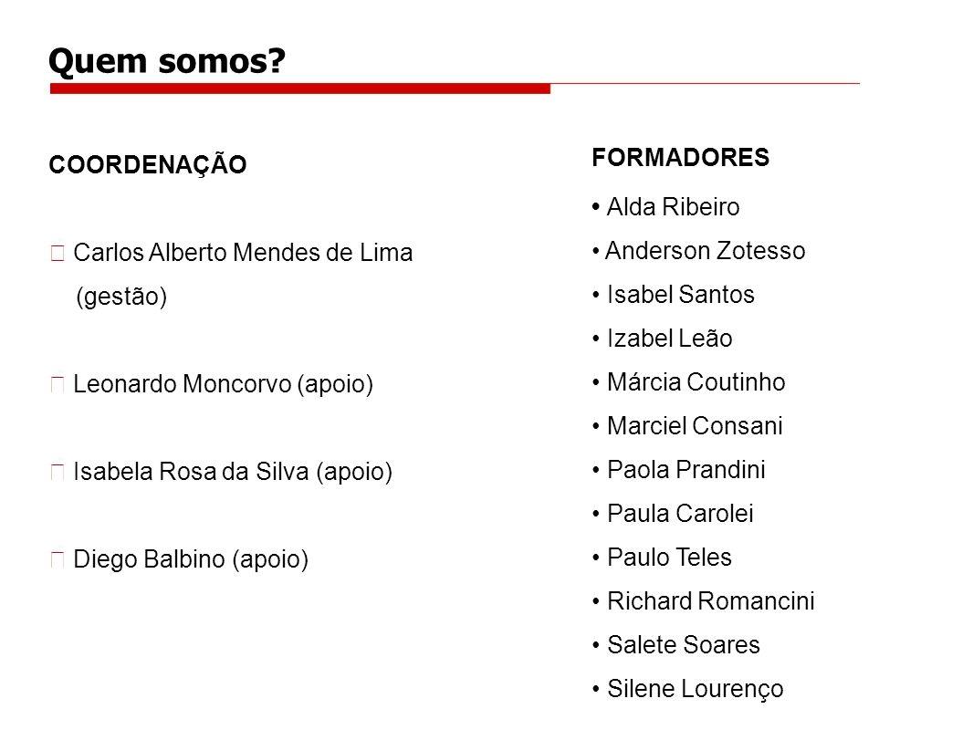 Quem somos FORMADORES COORDENAÇÃO • Alda Ribeiro • Anderson Zotesso