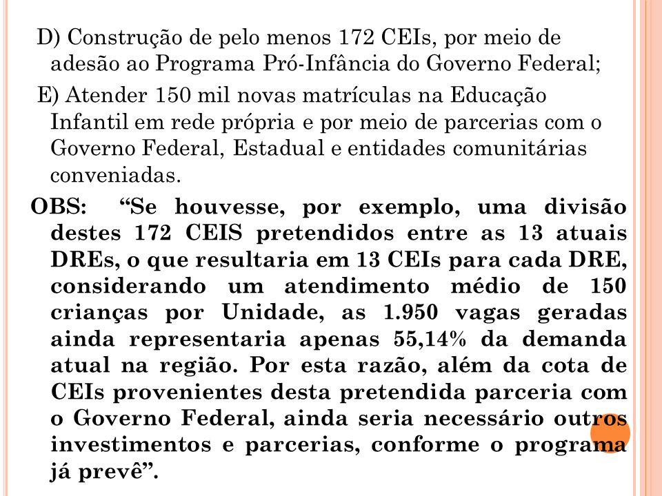 D) Construção de pelo menos 172 CEIs, por meio de adesão ao Programa Pró-Infância do Governo Federal;