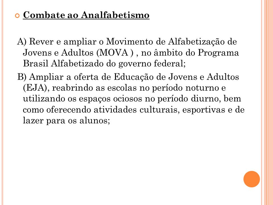 Combate ao Analfabetismo
