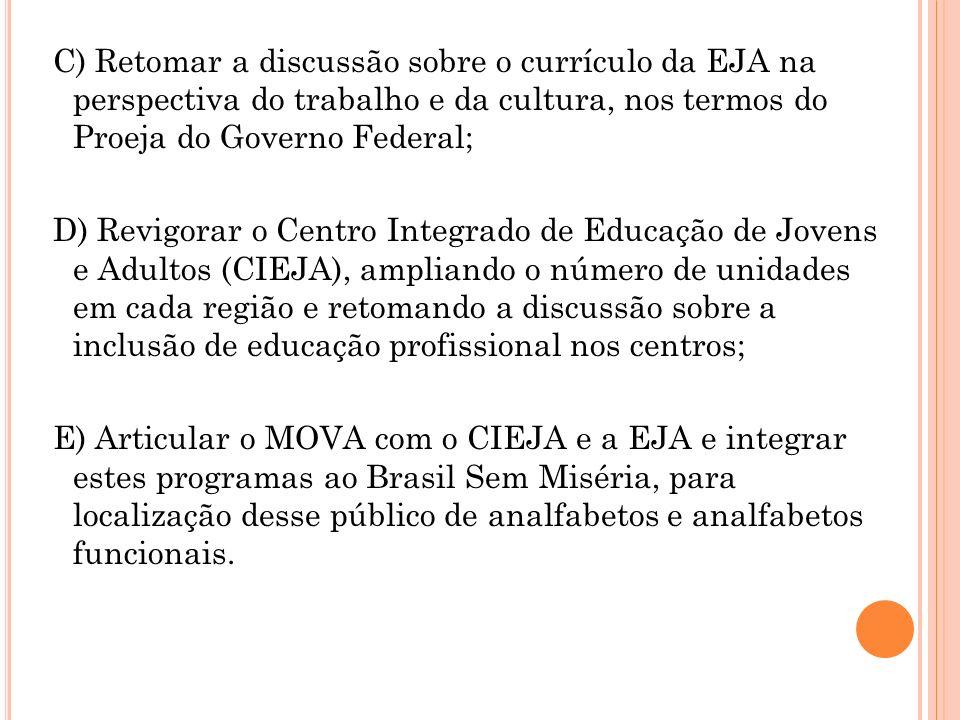 C) Retomar a discussão sobre o currículo da EJA na perspectiva do trabalho e da cultura, nos termos do Proeja do Governo Federal;