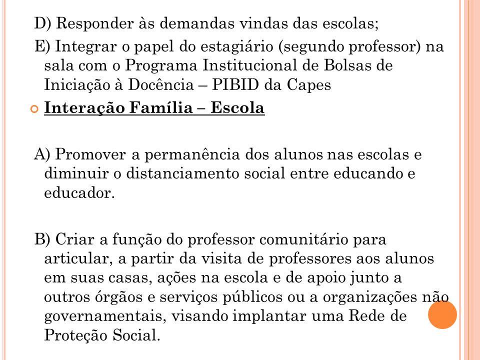 D) Responder às demandas vindas das escolas;