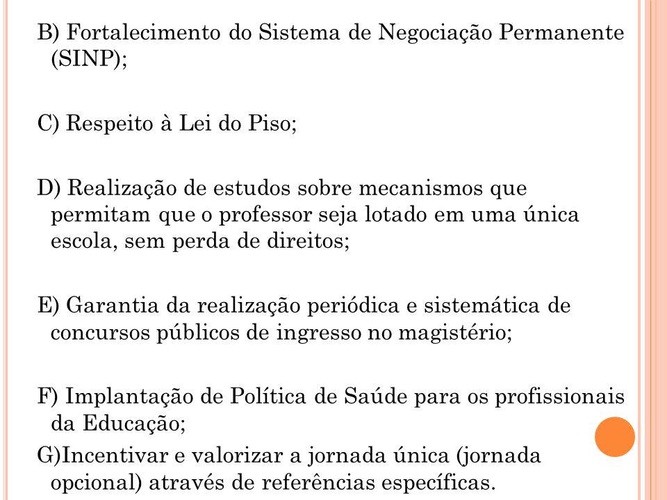 B) Fortalecimento do Sistema de Negociação Permanente (SINP);