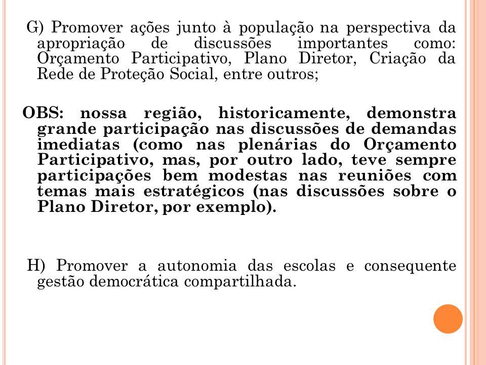 G) Promover ações junto à população na perspectiva da apropriação de discussões importantes como: Orçamento Participativo, Plano Diretor, Criação da Rede de Proteção Social, entre outros;