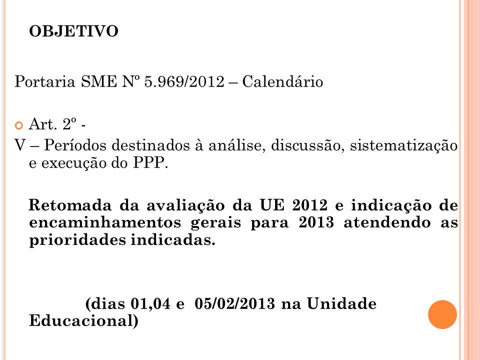 objetivo Portaria SME Nº 5.969/2012 – Calendário Art. 2º -