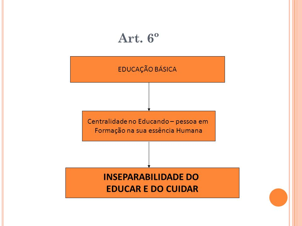 Art. 6º INSEPARABILIDADE DO EDUCAR E DO CUIDAR EDUCAÇÃO BÁSICA