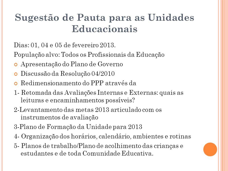 Sugestão de Pauta para as Unidades Educacionais