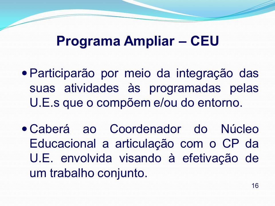 Programa Ampliar – CEU Participarão por meio da integração das suas atividades às programadas pelas U.E.s que o compõem e/ou do entorno.