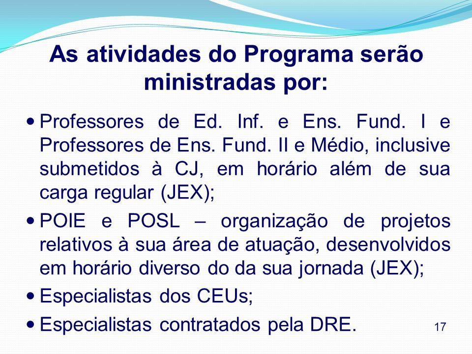 As atividades do Programa serão ministradas por: