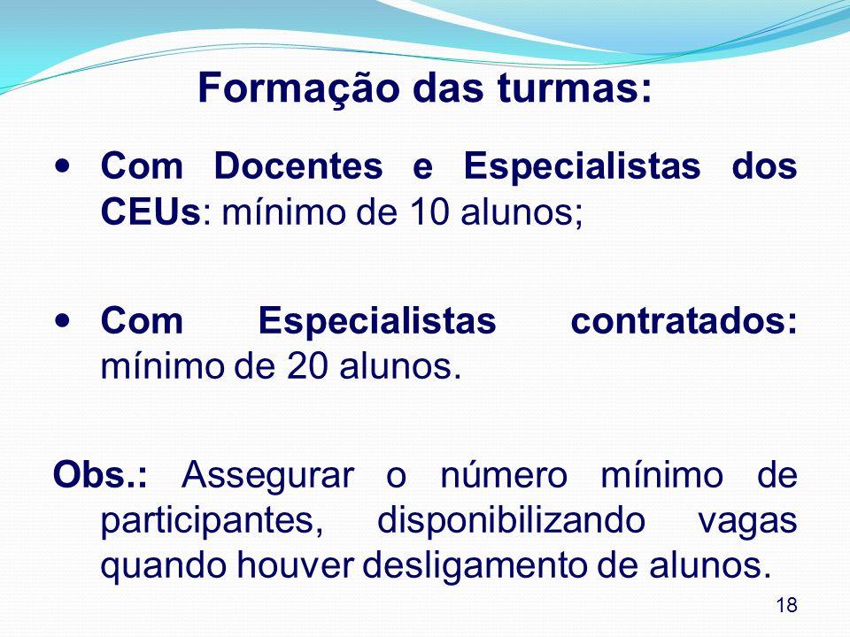 Formação das turmas: Com Docentes e Especialistas dos CEUs: mínimo de 10 alunos; Com Especialistas contratados: mínimo de 20 alunos.