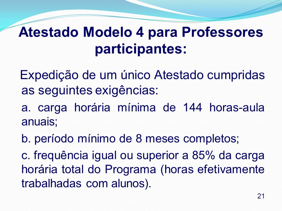 Atestado Modelo 4 para Professores participantes: