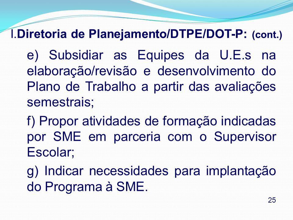 I.Diretoria de Planejamento/DTPE/DOT-P: (cont.)