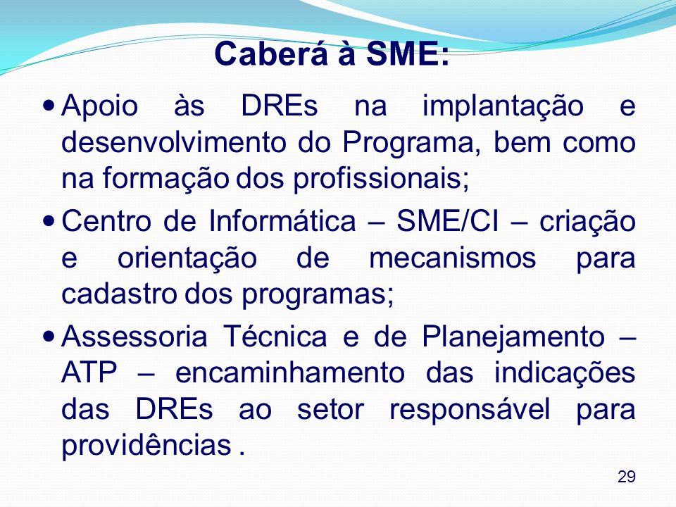 Caberá à SME: Apoio às DREs na implantação e desenvolvimento do Programa, bem como na formação dos profissionais;