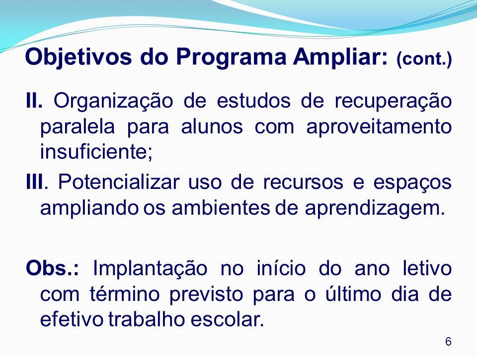 Objetivos do Programa Ampliar: (cont.)