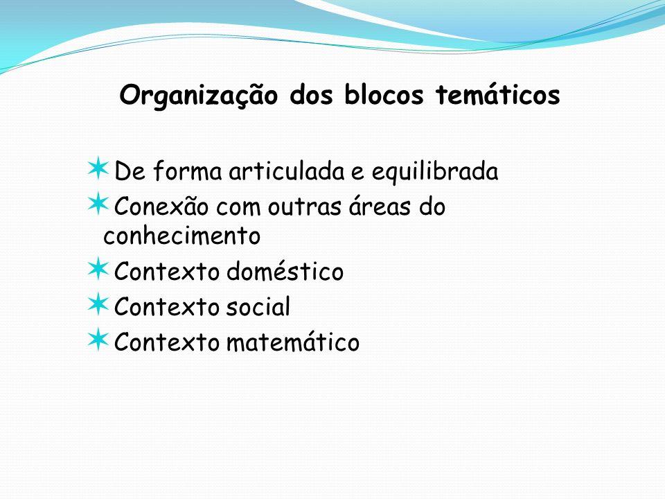 Organização dos blocos temáticos