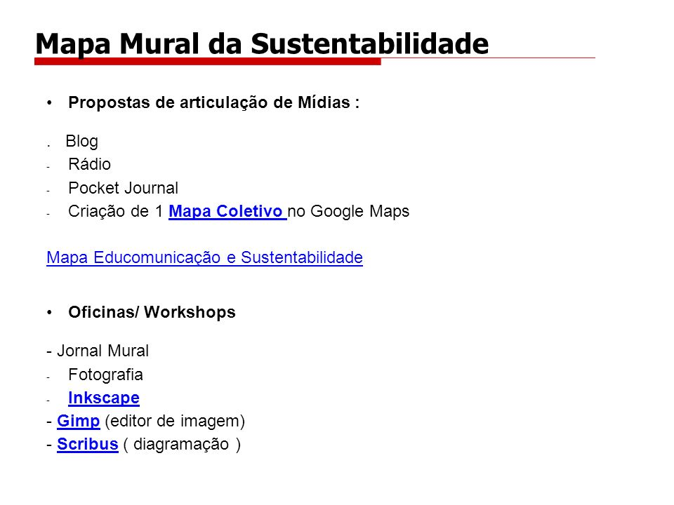 Mapa Mural da Sustentabilidade
