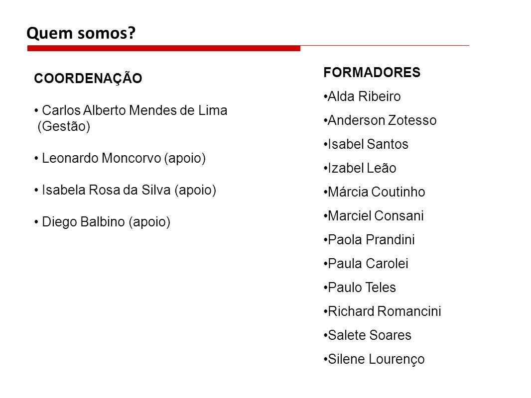 Quem somos FORMADORES COORDENAÇÃO Alda Ribeiro Anderson Zotesso