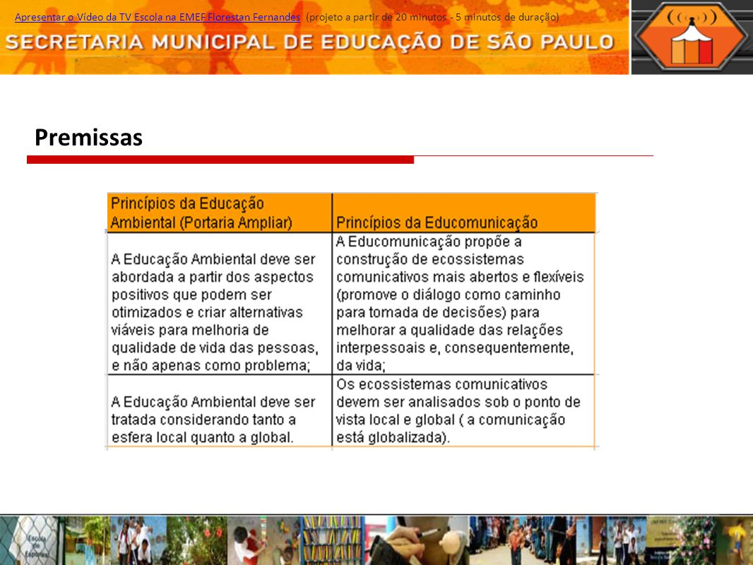 Apresentar o Vídeo da TV Escola na EMEF Florestan Fernandes (projeto a partir de 20 minutos - 5 minutos de duração)