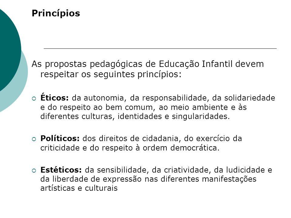 Princípios As propostas pedagógicas de Educação Infantil devem respeitar os seguintes princípios:
