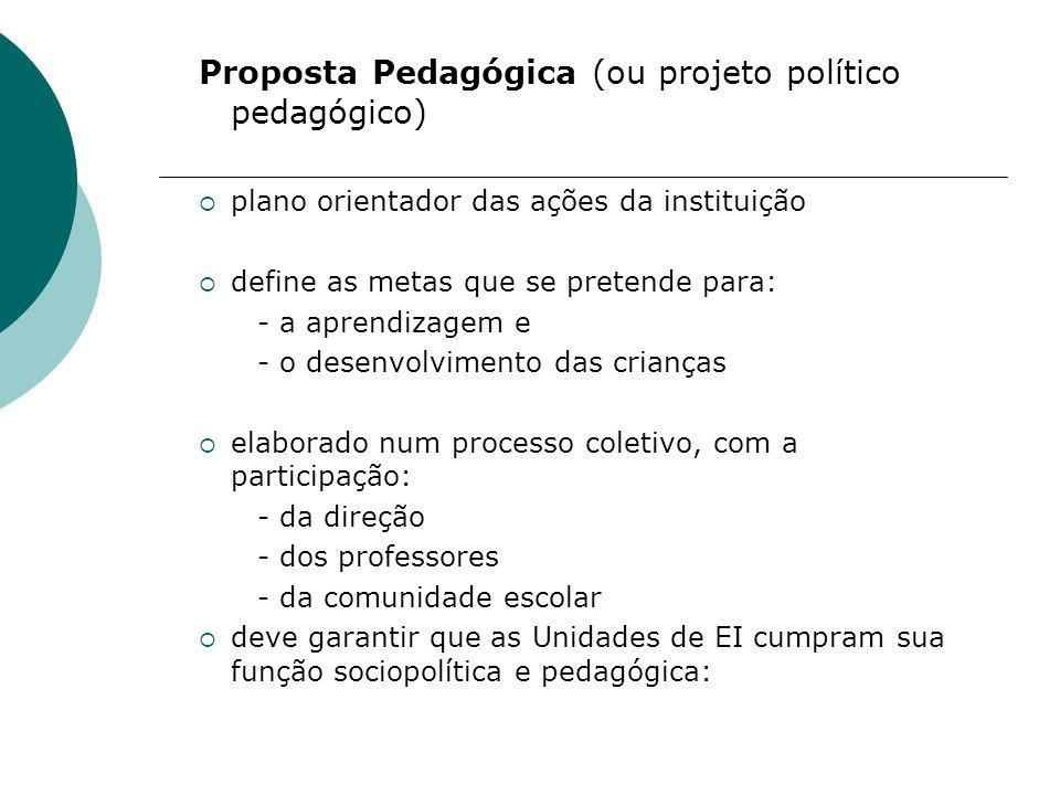 Proposta Pedagógica (ou projeto político pedagógico)
