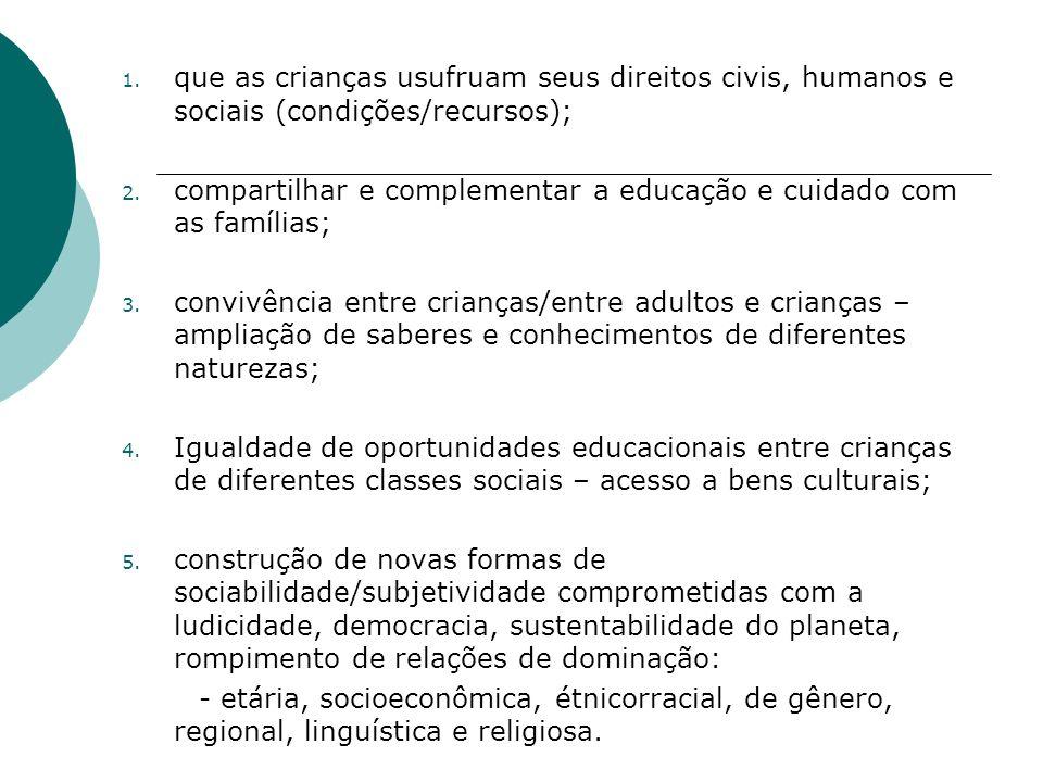 que as crianças usufruam seus direitos civis, humanos e sociais (condições/recursos);