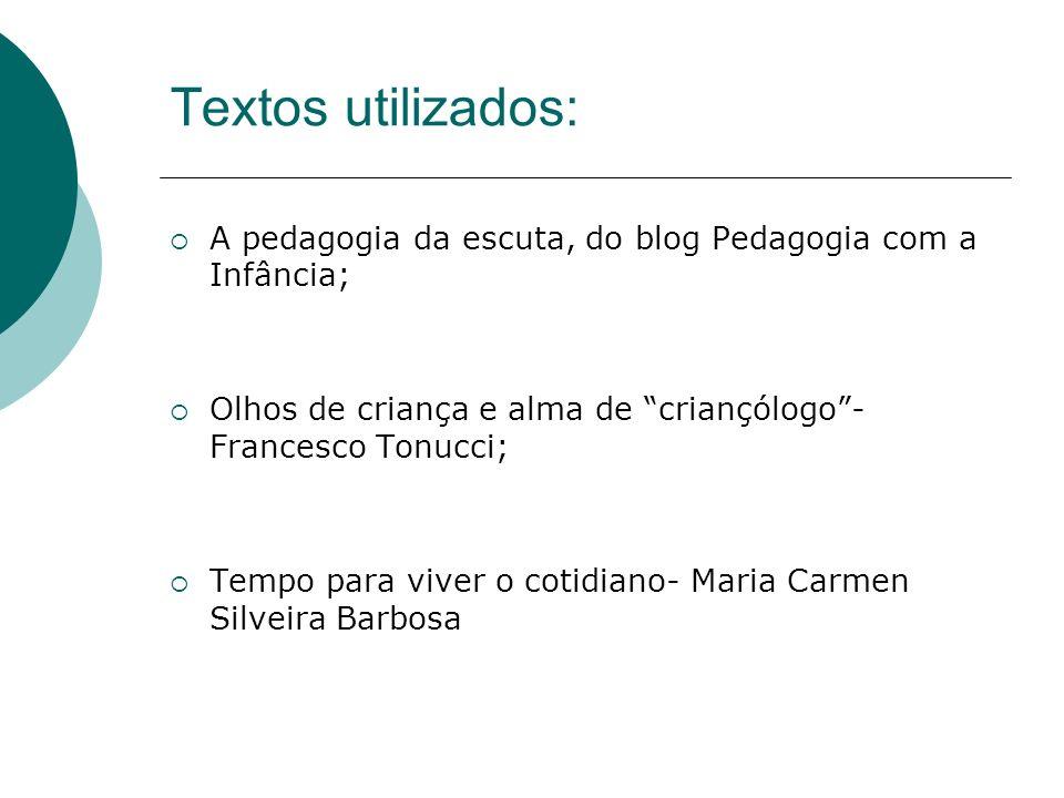 Textos utilizados: A pedagogia da escuta, do blog Pedagogia com a Infância; Olhos de criança e alma de criançólogo - Francesco Tonucci;