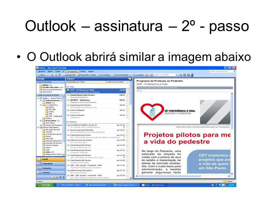 Outlook – assinatura – 2º - passo