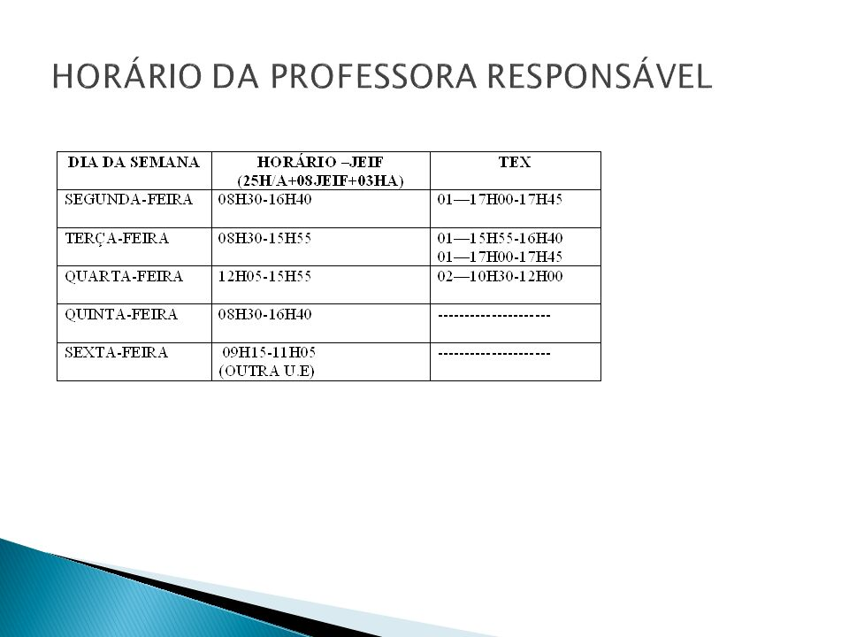 HORÁRIO DA PROFESSORA RESPONSÁVEL