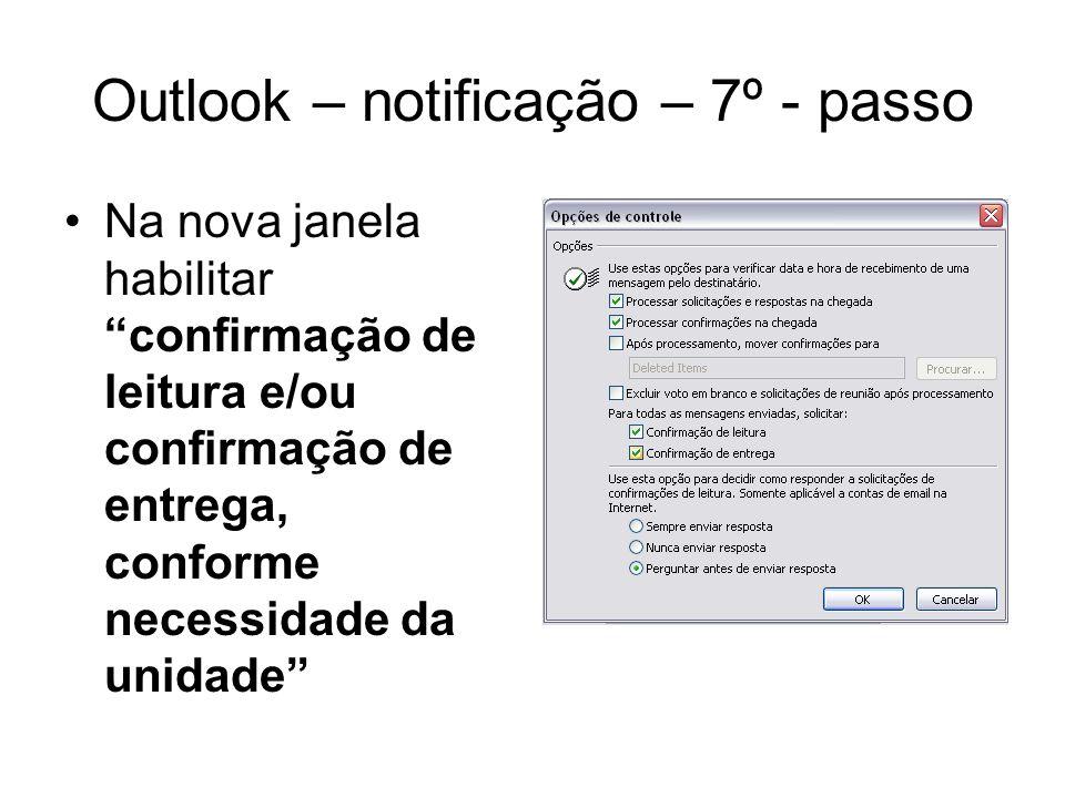 Outlook – notificação – 7º - passo