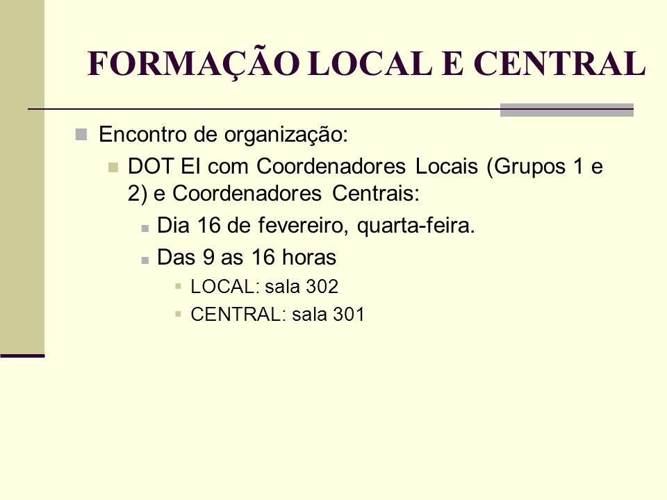FORMAÇÃO LOCAL E CENTRAL
