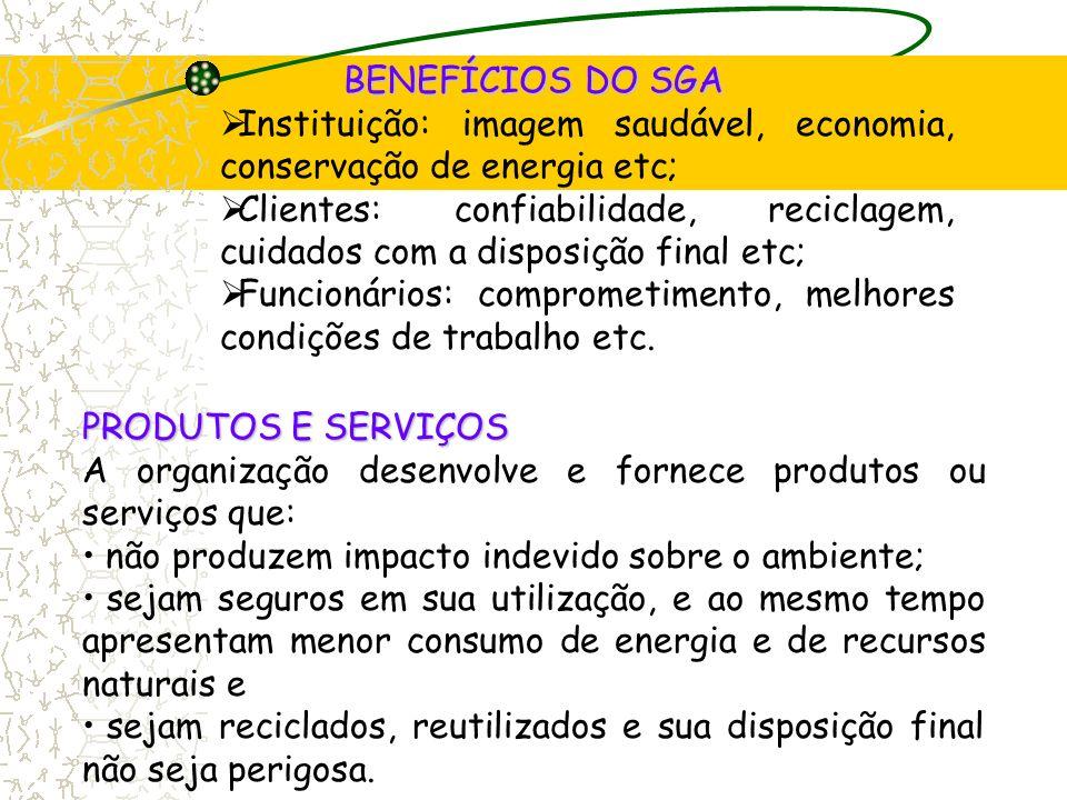 BENEFÍCIOS DO SGA Instituição: imagem saudável, economia, conservação de energia etc;