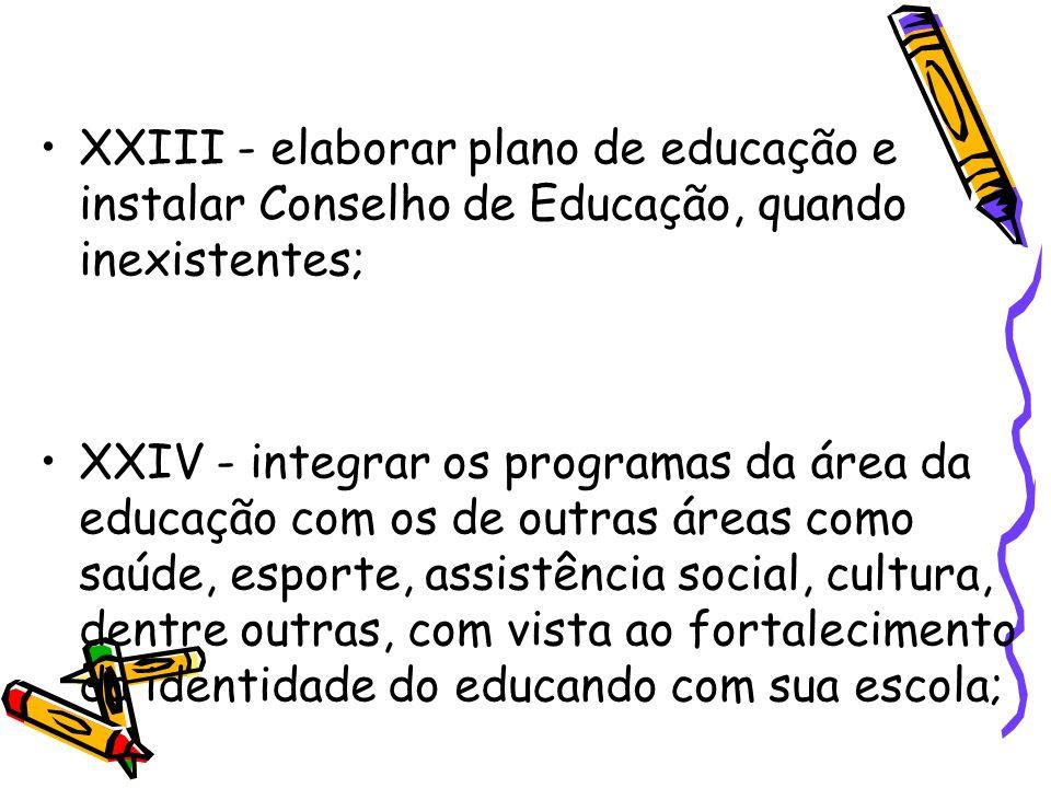 XXIII - elaborar plano de educação e instalar Conselho de Educação, quando inexistentes;