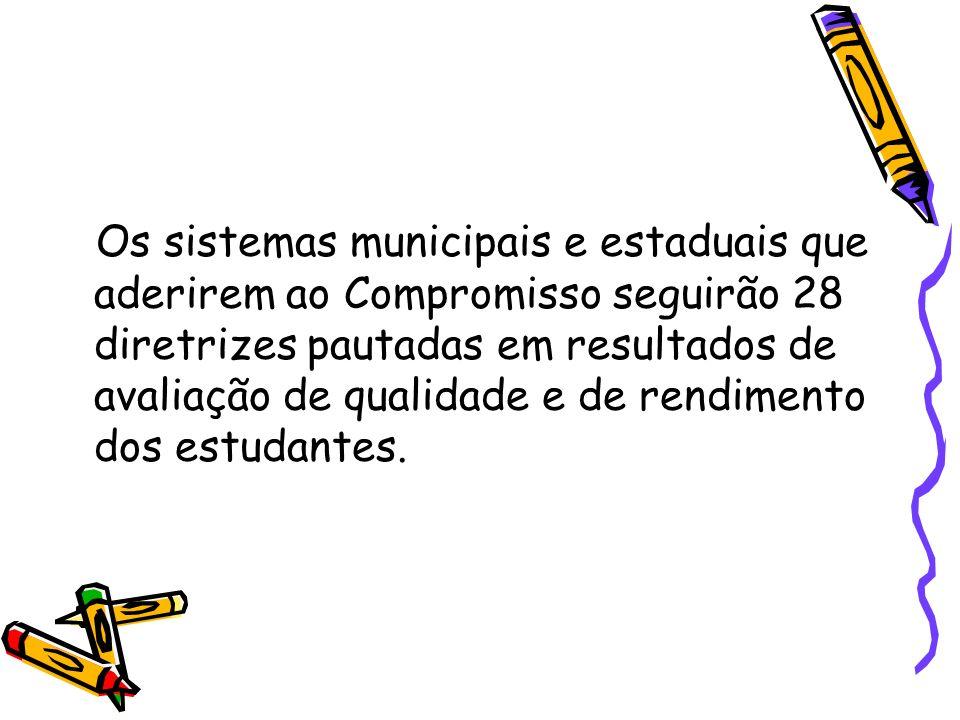 Os sistemas municipais e estaduais que aderirem ao Compromisso seguirão 28 diretrizes pautadas em resultados de avaliação de qualidade e de rendimento dos estudantes.