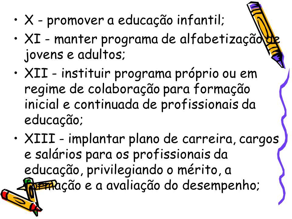 X - promover a educação infantil;
