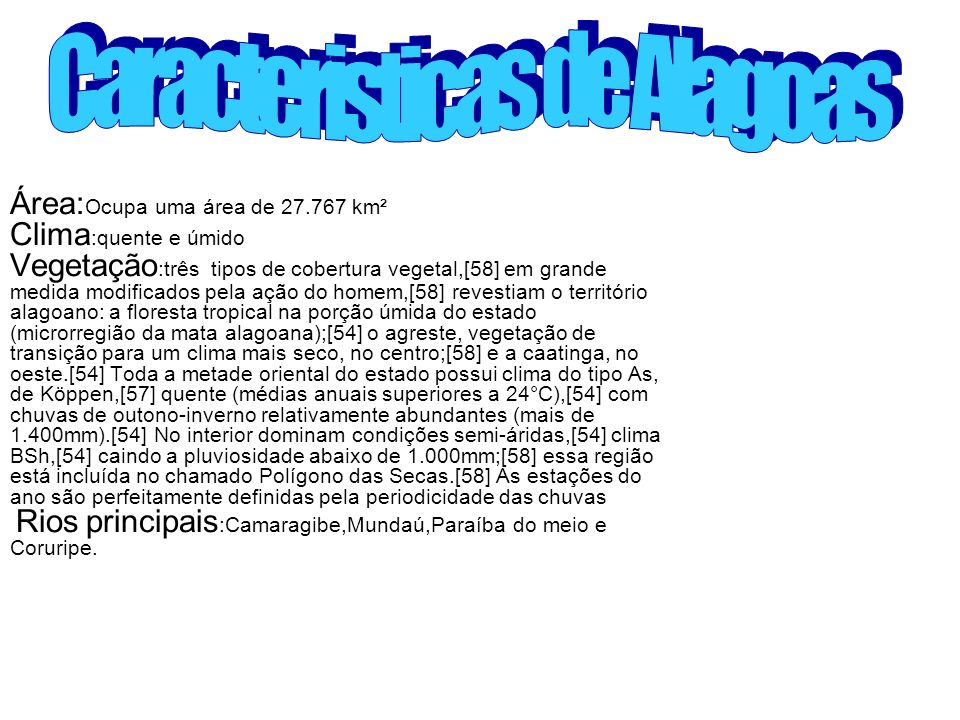 Caracteristicas de Alagoas