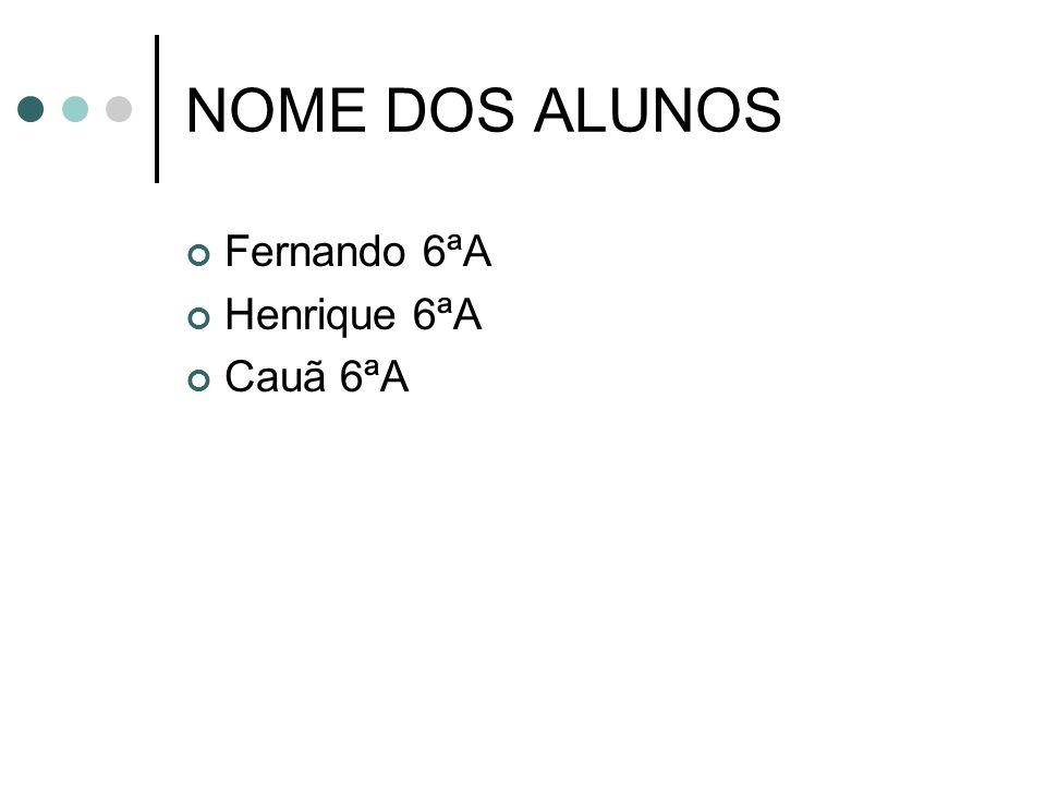 NOME DOS ALUNOS Fernando 6ªA Henrique 6ªA Cauã 6ªA