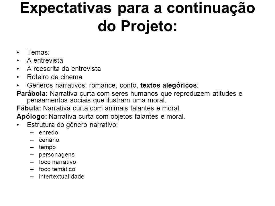 Expectativas para a continuação do Projeto: