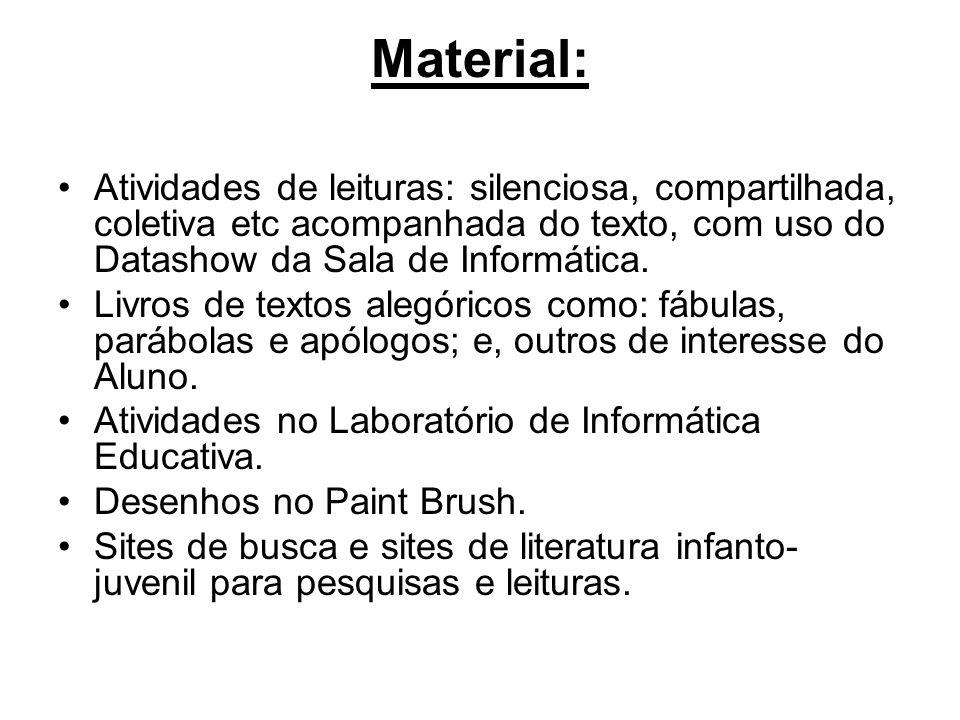 Material: Atividades de leituras: silenciosa, compartilhada, coletiva etc acompanhada do texto, com uso do Datashow da Sala de Informática.