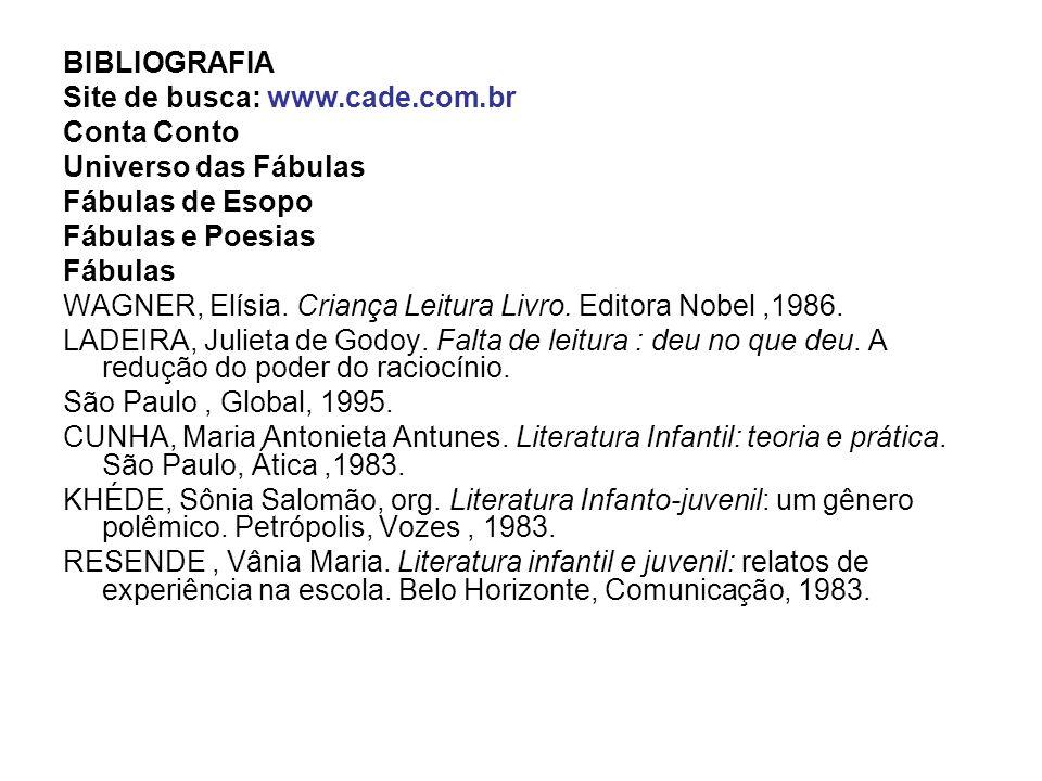 BIBLIOGRAFIA Site de busca: www.cade.com.br. Conta Conto. Universo das Fábulas. Fábulas de Esopo.