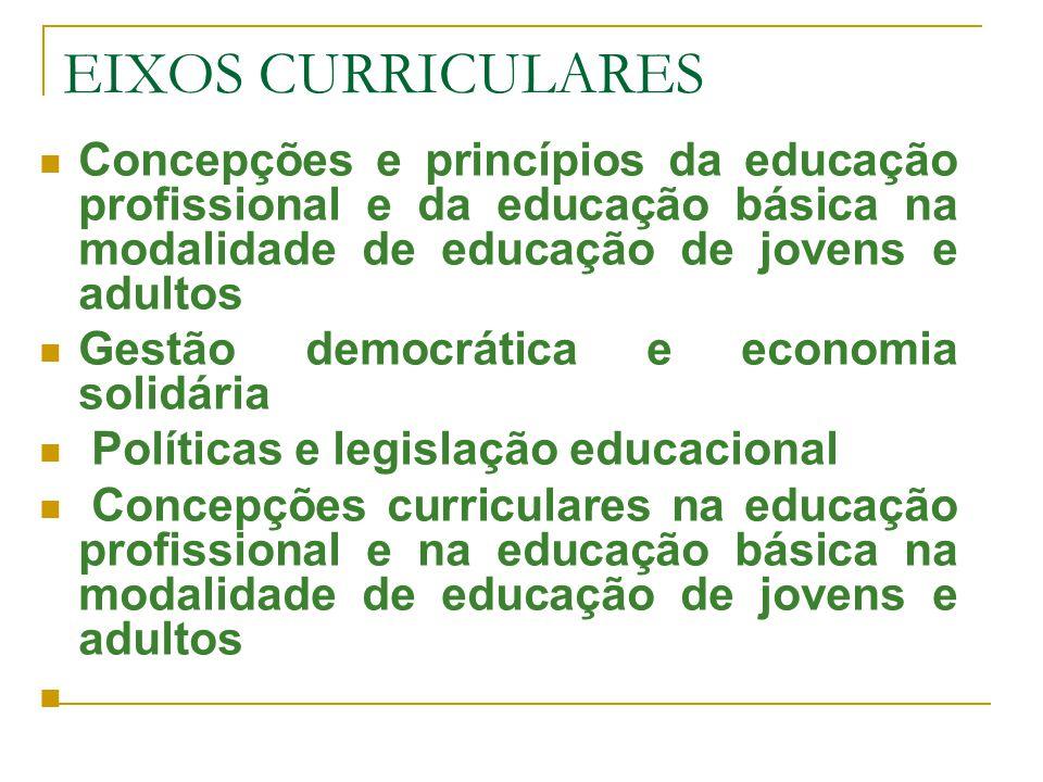 EIXOS CURRICULARES Concepções e princípios da educação profissional e da educação básica na modalidade de educação de jovens e adultos.