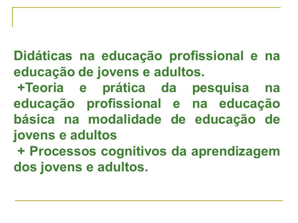 Didáticas na educação profissional e na educação de jovens e adultos.