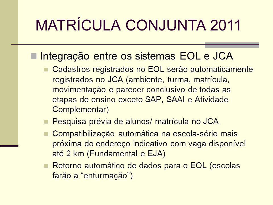 MATRÍCULA CONJUNTA 2011 Integração entre os sistemas EOL e JCA