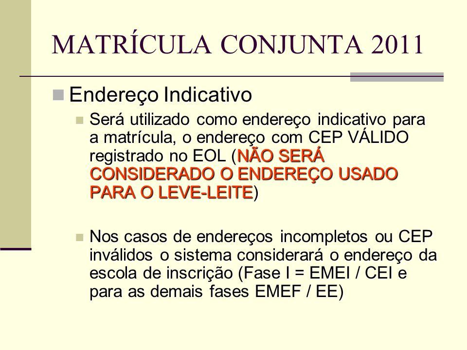 MATRÍCULA CONJUNTA 2011 Endereço Indicativo