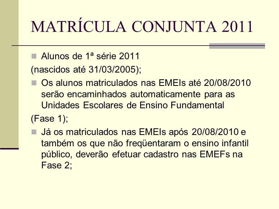 MATRÍCULA CONJUNTA 2011 Alunos de 1ª série 2011