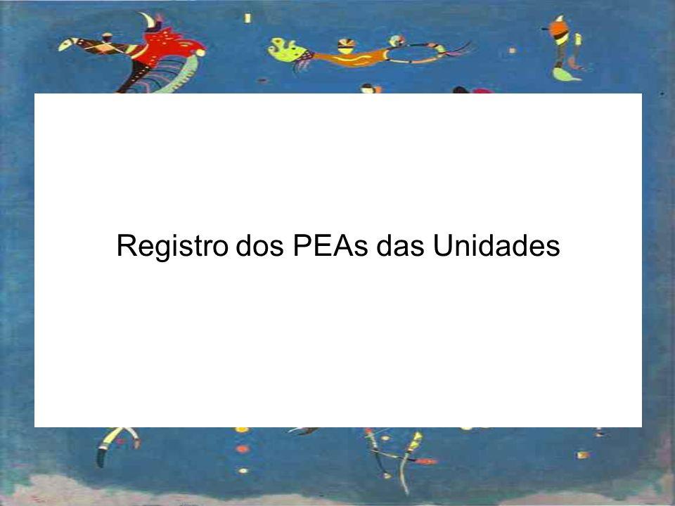 Registro dos PEAs das Unidades