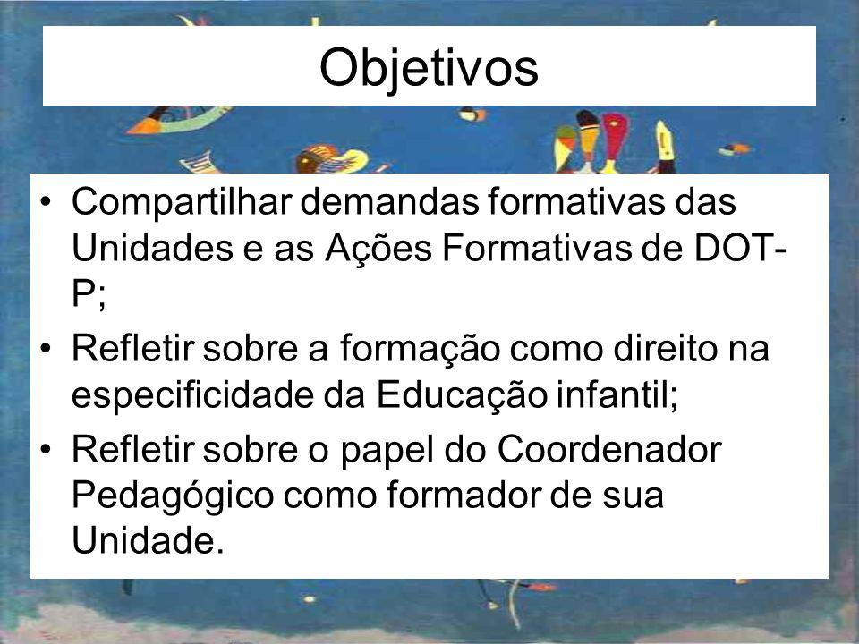 Objetivos Compartilhar demandas formativas das Unidades e as Ações Formativas de DOT-P;