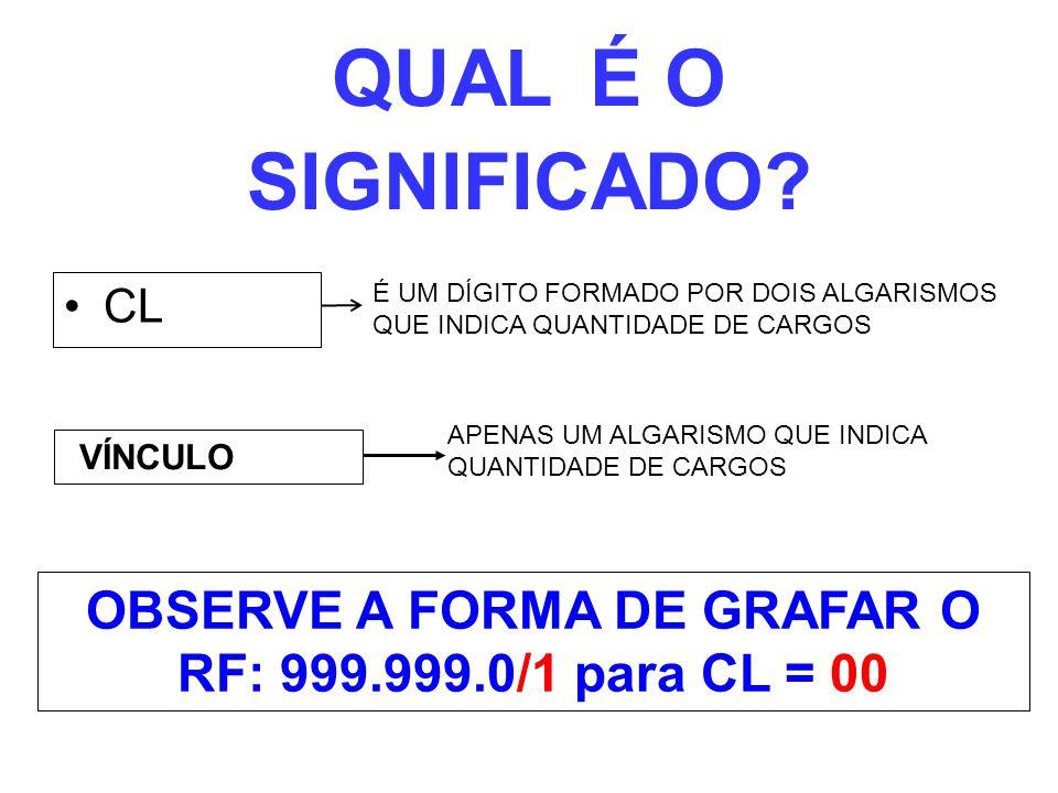 OBSERVE A FORMA DE GRAFAR O RF: 999.999.0/1 para CL = 00