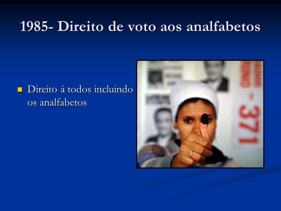 1985- Direito de voto aos analfabetos