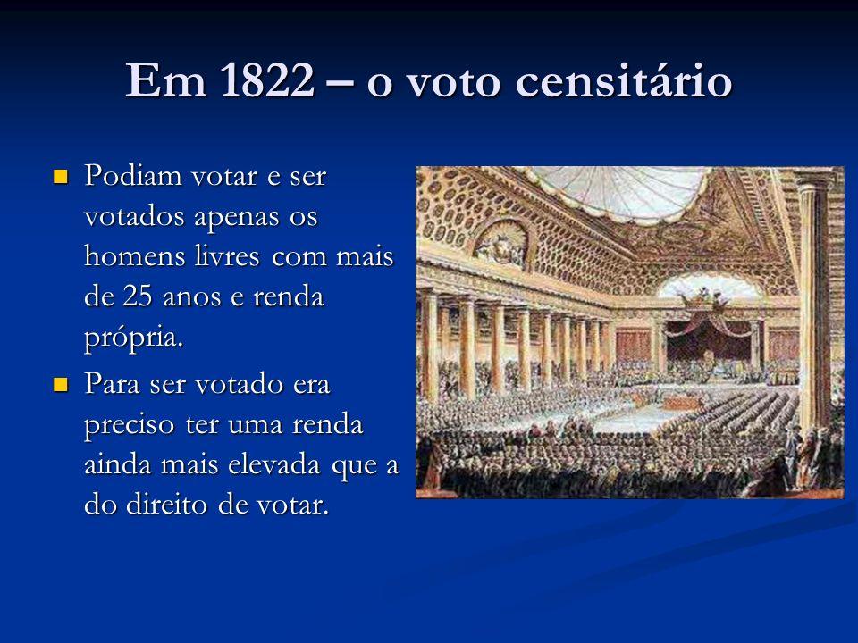 Em 1822 – o voto censitário Podiam votar e ser votados apenas os homens livres com mais de 25 anos e renda própria.