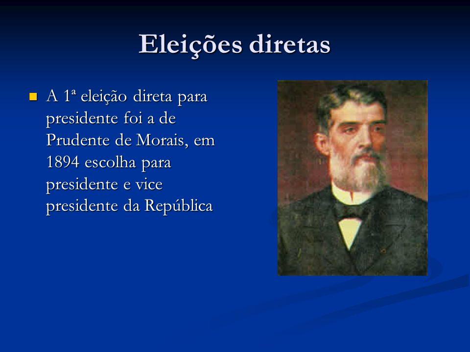 Eleições diretas A 1ª eleição direta para presidente foi a de Prudente de Morais, em 1894 escolha para presidente e vice presidente da República.