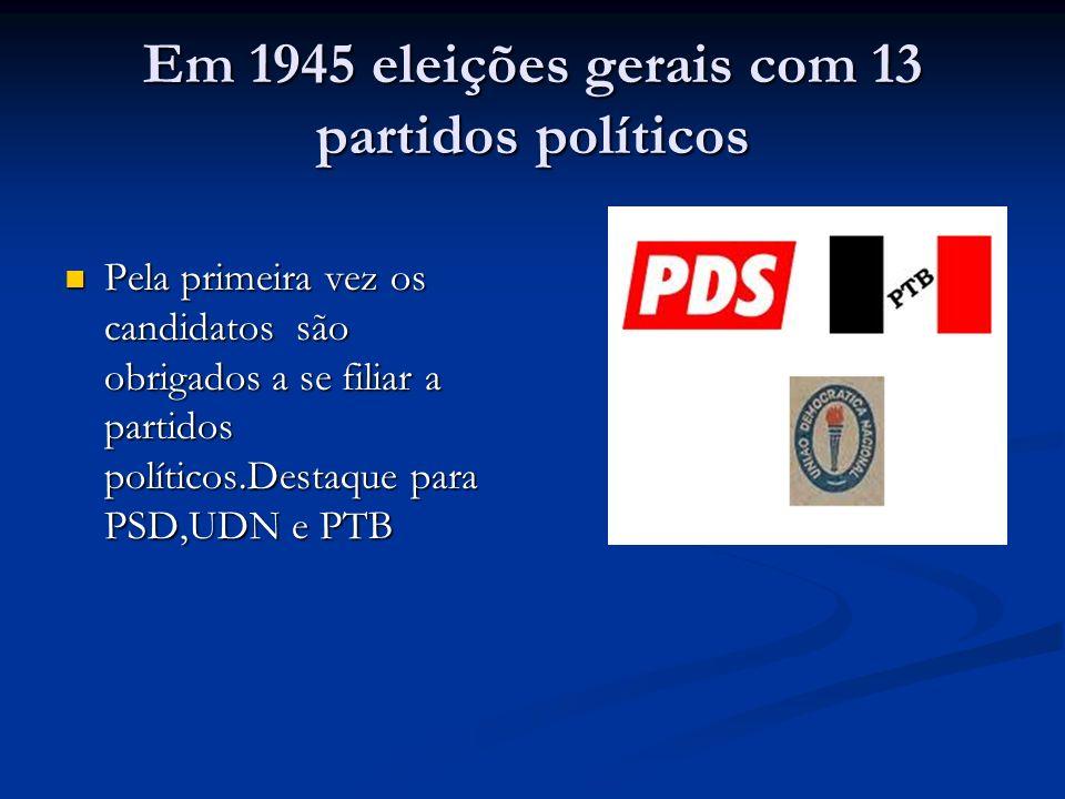 Em 1945 eleições gerais com 13 partidos políticos
